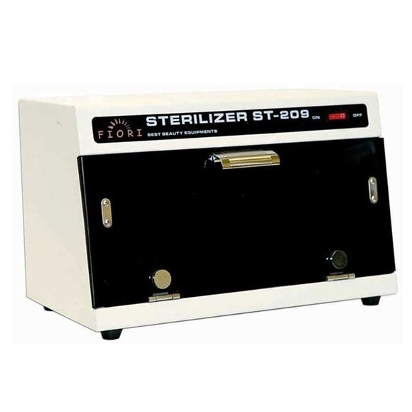 white sterilizer machine with black glass window
