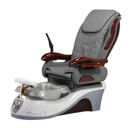 Cloud 9 pedicure chair in silver base, silver bowl and grey cushion