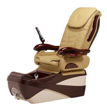 Chocolate SE pedicure chair in almond/chocolate base and beige cushion