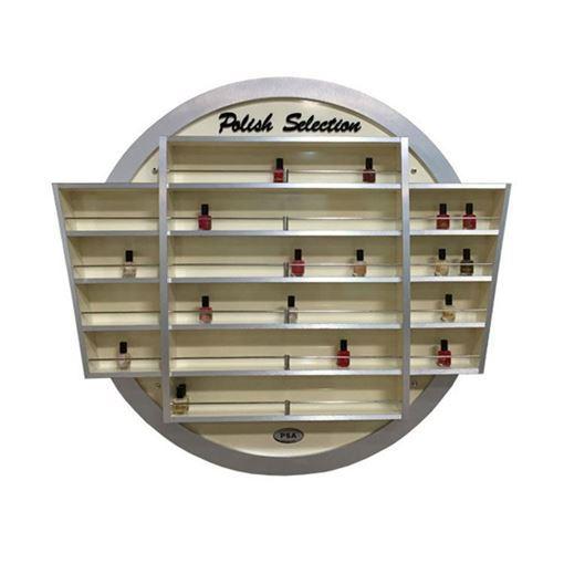 beige aluminum nail polish wall rack