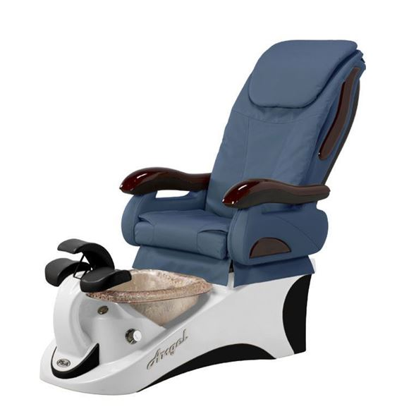 Angel Pedicure Chair In Black/White Base & Blue Seat