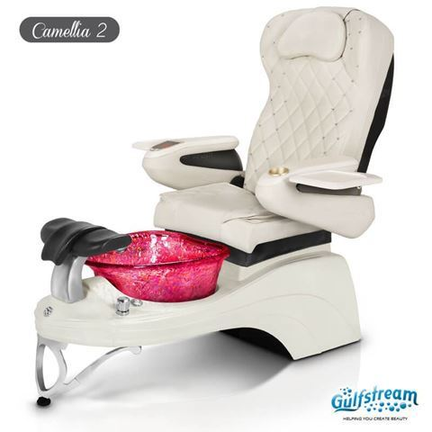 Gulfstream Camellia 2 pedicure chair in white base, wine bowl & pearl white with crystals