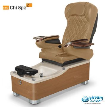 Gulfstream Chi 2 pedicure chair in cappuccino base, cappuccino sink and 9660 curry