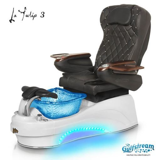 Gulfstream La Tulip 3 in white base, blue bowl, 9660 black with crystals and LED lights