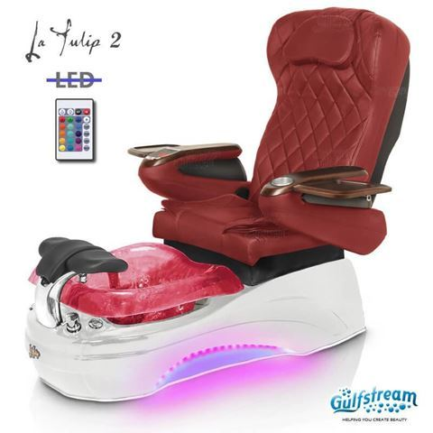 Gulfstream La Tulip 2 in white base, wine bowl, 9660 burgundy  and LED lights
