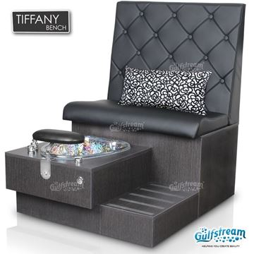 Tiffany pedicure bench in truffle base, clear bowl and style 30 in black color