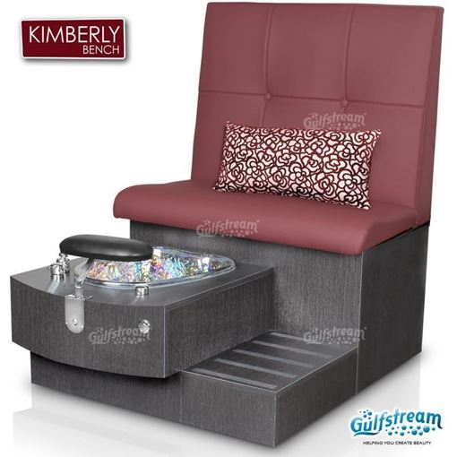 Gulfstream spa single bench in truffle base, clear bowl and style 24 in holyhock