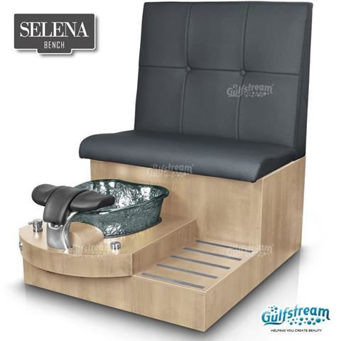 Gulfstream spa bench in prestige maple, black bowl and seat 24 black