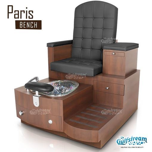 Gulfstream Paris spa bench in caramel base, clear bowl and style 30 in black color