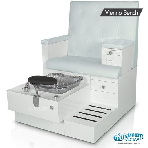 Gulfstream Vienna pedicure bench in white base, clear bowl, style 30 bone color
