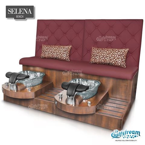 Selena Double pedicure bench in caramel base, clear bowl, style 30 hollyhock