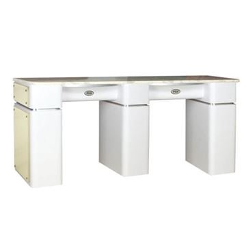 T-39 double nail table in white / beige