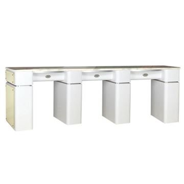 t39 triple nail table in white / beige