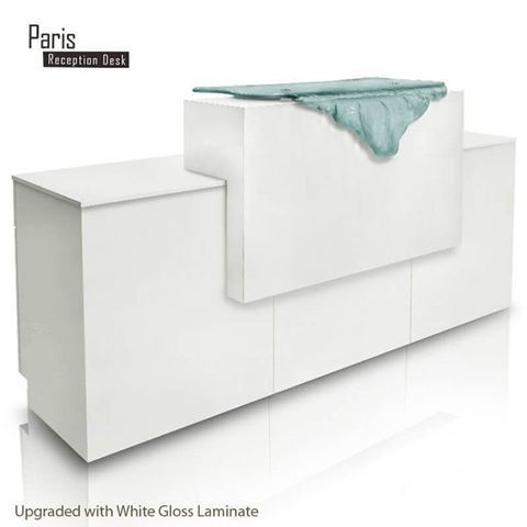 Gulfstream Paris Long Reception Counter In White Gloss