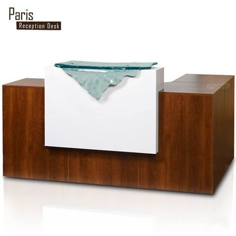 Gulfstream Paris L Shape Reception Counter With Glass Waterfall