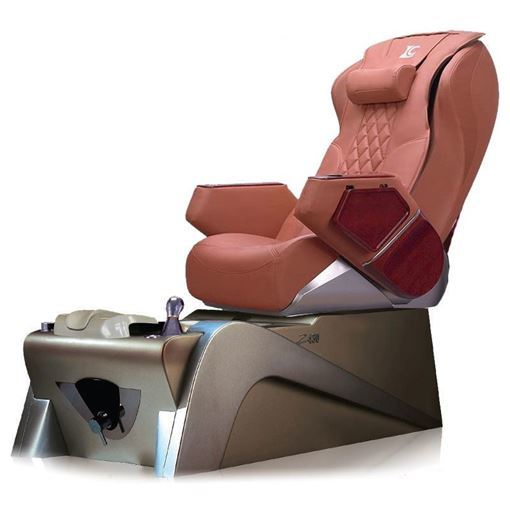 a cappuccino massage chair and silver pedicure base