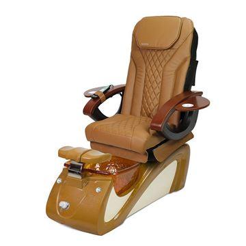 AYC Alessi pedicure chair in spicy cinnamon base and cappuccino Shiatsulogic EX chair