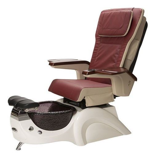 T135 pedicure spa in white base and red chair