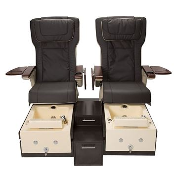 T-1000 pedicure bench in brown laminate base, white sinks and espresso chairs