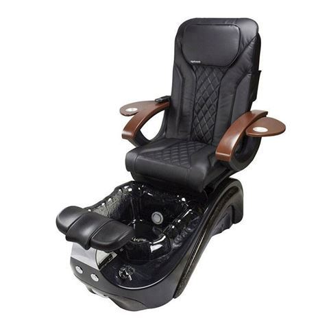 Perla pedicure chair in black base, black bowl and black Shiatsulogic EX