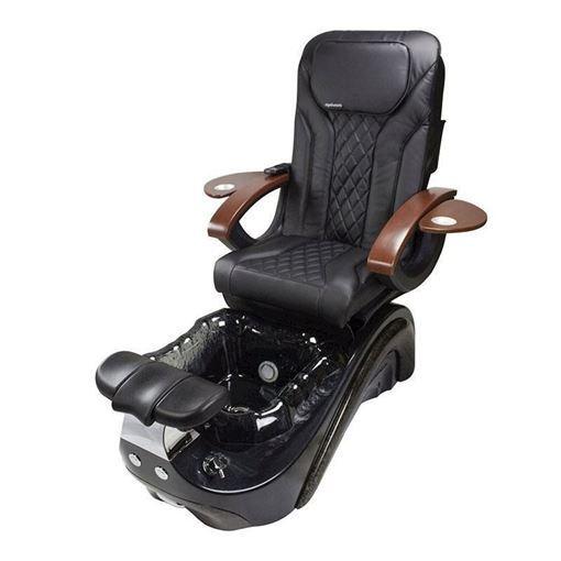 Perla pedicure chair in black base, black bowl and black Shiatsulogic EX