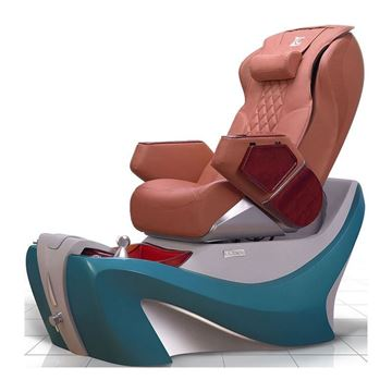 D7 pedicure chair in turquoise base and cappuccino leather cushion