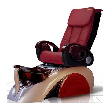 D5 pedicure chair in silver/light brown base and burgundy leather cushion