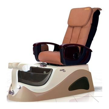 M5 pedicure chair in seashell / cappuccino and cappuccino leather