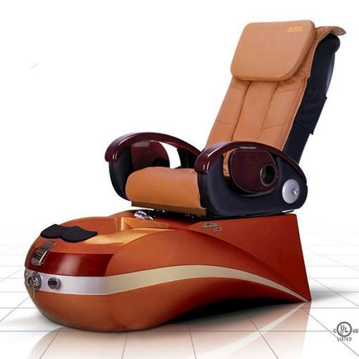 S3 pedicure chair in golden brown base and cappuccino leather cushion