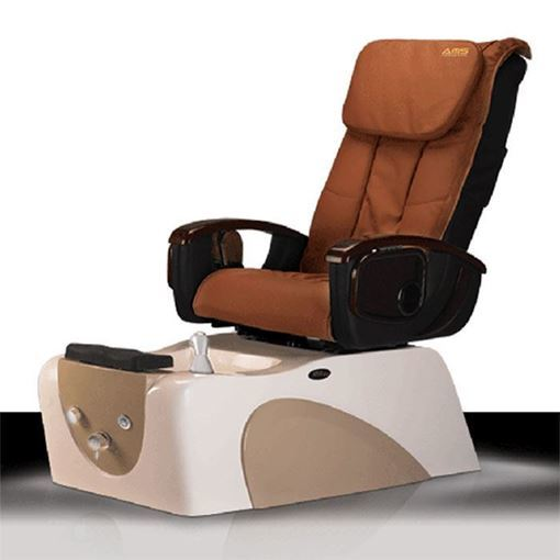 K25 pedicure chair in white/cappuccino base and cappuccino leather