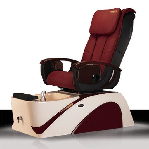 K30 pedicure chair in white/burgundy base and burgundy leather cushion