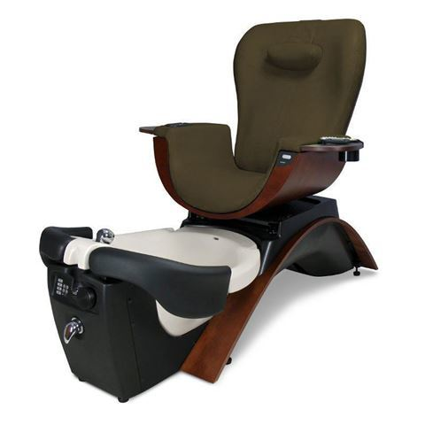 Maestro pedicure chair in cherry base and brown cushion