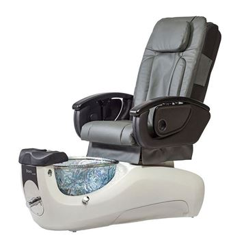 Bravo VE pedicure chair in white base and slate cushion