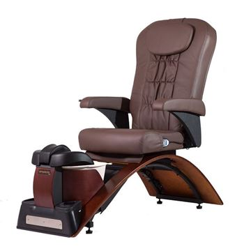 Simplicity pedicure chair in cherry base and chocolate cushion
