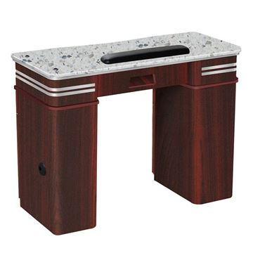 Avon nail table with mahogany color with grey marble top