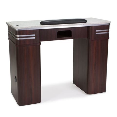 Avon nail table with vent and white marble top