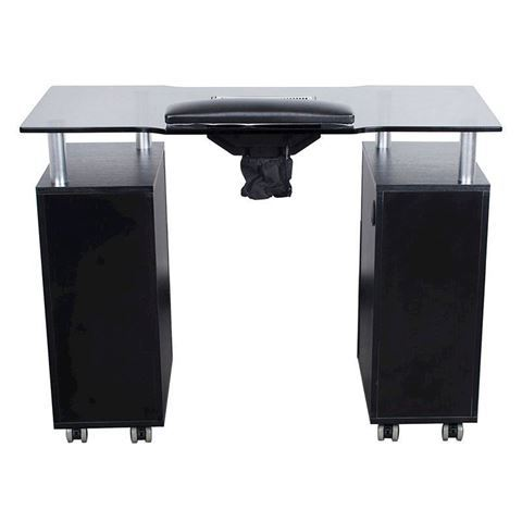 Glasglow black nail table with glass top