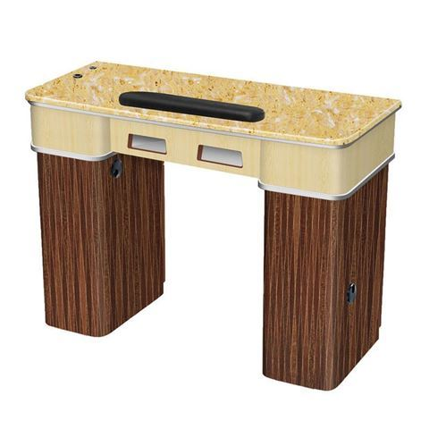 Verona II nail table with yellow marble top
