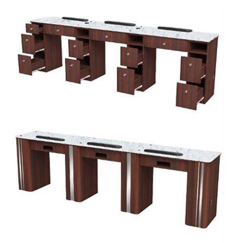 Avon triple nail table with white marble top