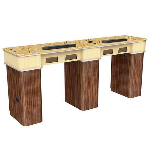 Verona II Double nail table in dark oak laminate and golden marble top