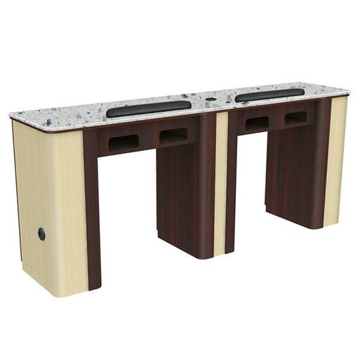 Verona Double nail table in light oak laminate and grey marble top