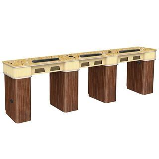 Verona II triple nail table with yellow stone table top