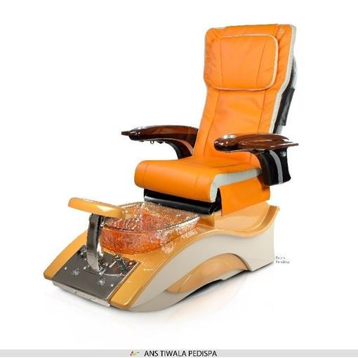 Tiwala pedicure spa in golden brown base and orange & ivory ANS P20 massage chair