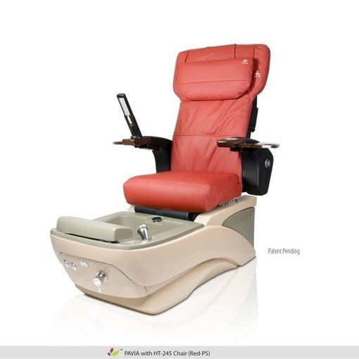 Pavia pedicure spa with red Human Touch HT-245 massage chair