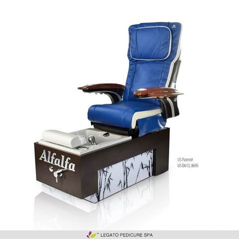 Legato pedicure spa with navy blue & ivory ANS P20 massage chair