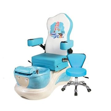Little Mermaid kids pedicure chair with blue cushion and stool