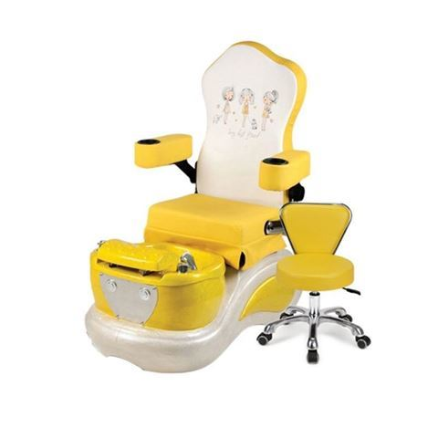 My Best Friends kids pedicure spa in yellow chair and stool