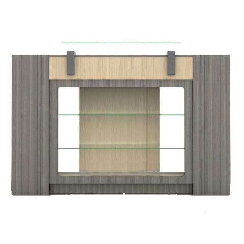 grey hardwood veneer Alera reception desk front view