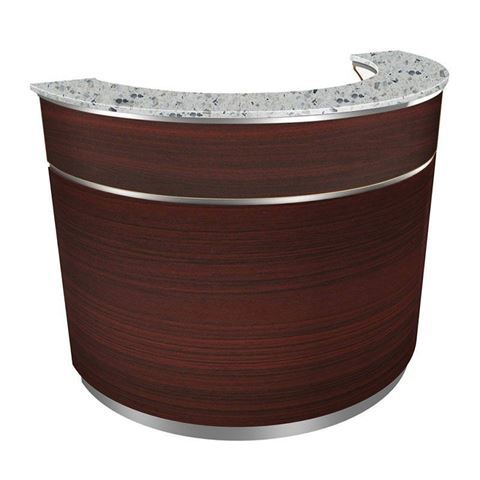 Avon reception desk in mahogany laminate and grey granite top