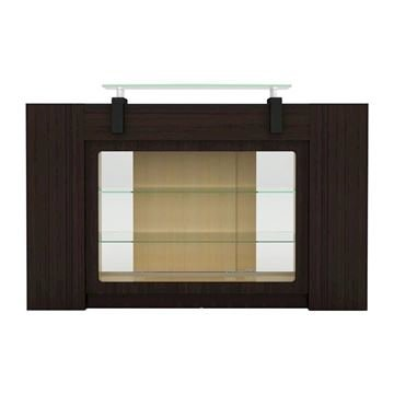 dark wood and oak two-tone color Berkeley reception desk